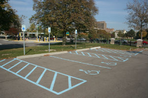 Outdoor Parking lot - special needs parking spaces